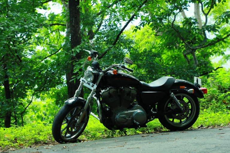 black cruiser motorcycle on road